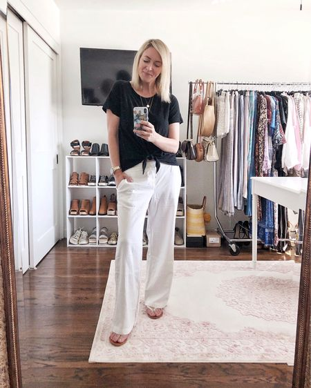 Linen pants seemed like a nice little (equally comfy) change from the daily loungewear 👌🏻  This sale pair is sadly sold out in white but still available in a couple of colors for under $20.    http://liketk.it/2MzI1 #liketkit @liketoknow.it #StayHomeWithLTK #LTKsalealert #LTKunder50