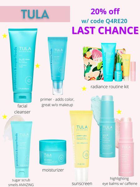 20% off SITEWIDE at Tula  Code: Q4RE20  Skincare, Tula sugar scrub, Tula eye balm, facial cleanser, Tula sunscreen, Tula tinted moisturizer, beauty products      #liketkit @liketoknow.it I #LTKbeauty #LTKsalealert #LTKunder100 http://liketk.it/3i5cs