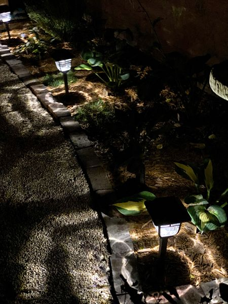 Is it magic? No, it's these gorgeous Burton Solar Path Lights from @lights.com 😍 We have been working on our courtyard garden the last few weeks, and these lights are the cherry on top! We couldn't wait for it to get dark last night!  We were pleasantly surprised at how bright they are! You would never know they're solar powered!  Swipe to see what they look like up close!     #LTKunder100 #LTKfamily #LTKhome