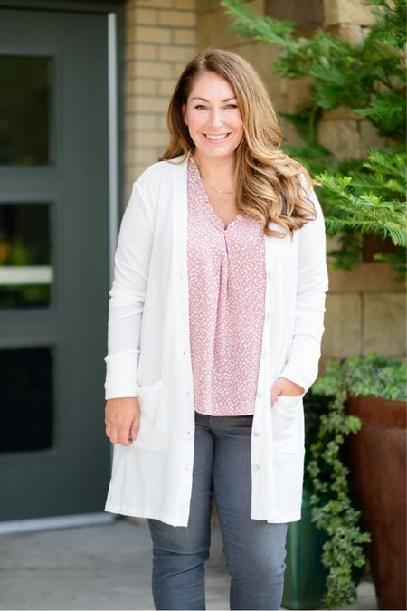 Gibsonlook x The Recruiter Mom Fall Outfit  Code RYANNE15 for 15% off all new arrivals with gibsonlook  V-neck blouse, size up for larger chest, L // Jeans, tts 12 // Cardigan, L  Fall Style  Women's Clothing  Fall Outfits  #LTKSeasonal #LTKstyletip #LTKunder100