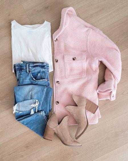 Cozy Fall Outfit | shacket | Booties |abercrombie jeans http://liketk.it/3pX5b @liketoknow.it   #LTKshoecrush #LTKsalealert #LTKGiftGuide