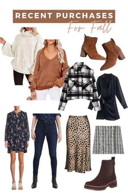 Recent purchases for fall! So many cute fall outfits! These top sweaters are amazon finds, the shacket, booties and fall dress are going on sale soon, and the bottom fall dress and western booties are under $20!  #LTKshoecrush #LTKstyletip #LTKunder50
