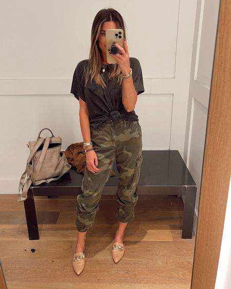 Items are true to size. Loving these Camo pants. Would be cute with a black tank or bodysuit.    http://liketk.it/3jJuy @liketoknow.it #liketkit #LTKunder50 #LTKstyletip