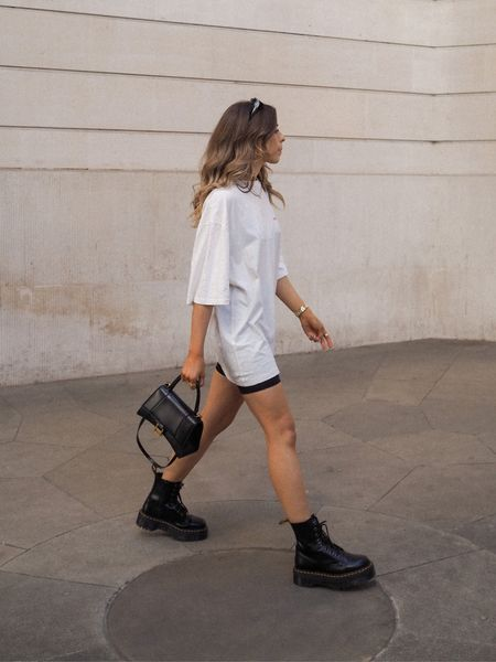 Oversized graphics t shirt teamed with a pair of cycling shorts, chunky jadon dr martens and my balenciaga hourglass bag     #LTKSeasonal #LTKeurope
