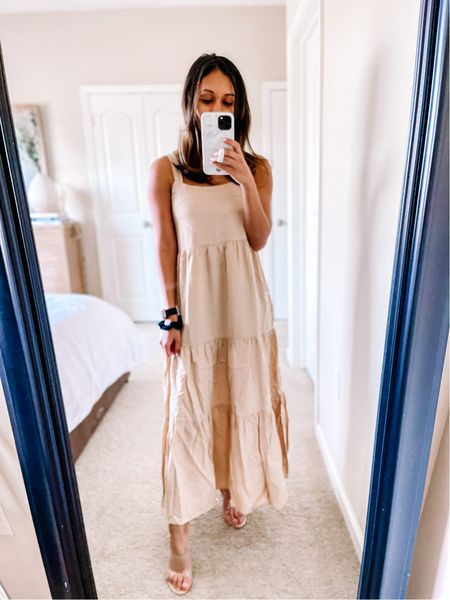 Amazon fashion spring and summer outfit idea! Favorite midi dress from The Drop! Wearing size xx-small in the The Drop Women's Britt Tiered Maxi Tent Dress!   #LTKunder100 #LTKSeasonal #LTKstyletip