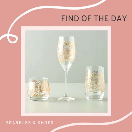 My #findoftheday are these glasses with dancing florals and interlaced vines.  They have a number of options, the Fiorella Flutes, Fiorella Highball Glasses, and Fiorella Stemless Wine Glasses which would make wonderful #housewarming or #weddinggift!  #Anthropologie  #LTKunder100 #LTKhome #LTKGiftGuide