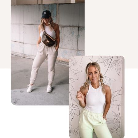 Cool mom vibes in this loungewear look! Can't go wrong with any of the colors in both the cloud joggers and ribbed bodysuit! http://liketk.it/3h78E #liketkit #LTKDay #LTKunder100 @liketoknow.it