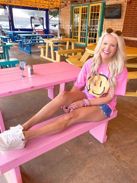 Pink smiley oversized graphic tee size Large  Target shorts  White sneakers TTS  Pink bracelet stack  Target gold earrings  Gold initial necklace  Aviator sunglasses   #LTKbacktoschool #LTKshoecrush #LTKunder50