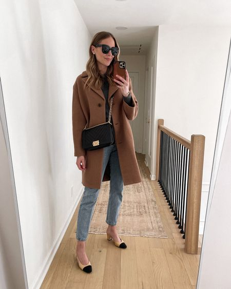 Camel coat, grey sweater, Levi's jeans, Chanel slingbacks, Chanel boy bag, #falloutfits #sweaters #camelcoat #businesscasual   #LTKworkwear #LTKsalealert #LTKstyletip