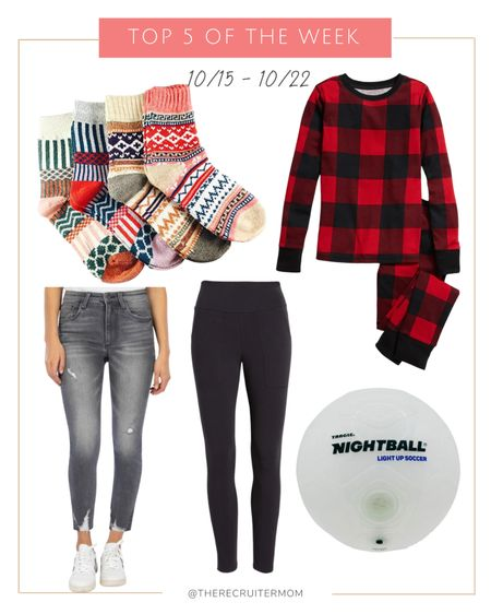 Top 5 of the week  1. Old navy pajamas  2. Cotton Blend Leggings w/ Pockets (L)  3. 26% off Winter Socks 4. Grey Jeans (12P) 5. Light Up Soccer Ball