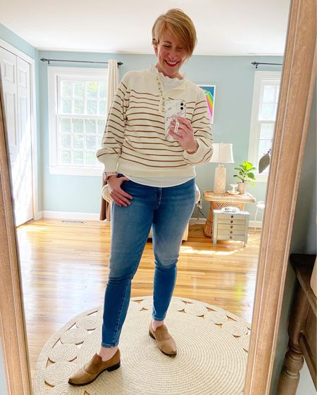 Sweater TTS  Top older from JCrew (linked similar) Jeans size down 1 (I'm in a 28) Shoes older from Free People (linked similar)