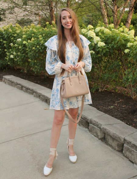 One last taste of summer! This has been my most-worn dress this season. It's flowy but TTS and comes with a slip. Also LOOVE this nude crossbody! A new favorite  . Floral dress lace up espadrille wedges crossbody bag   #LTKunder50 #LTKunder100