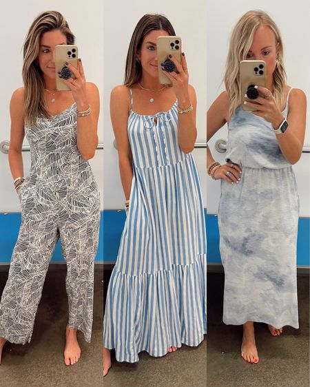 Size xs in jumpsuit and this pretty blue maxi dress! Great for beach vacation!  Heather is wearing size small.     http://liketk.it/3jL89 @liketoknow.it #liketkit #LTKtravel #LTKstyletip #LTKunder50
