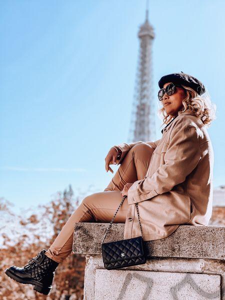 Leather leggings, shacket, beret, Chanel combat boots, Chanel WOC, oversized sunnies   #LTKtravel #LTKeurope #LTKSeasonal