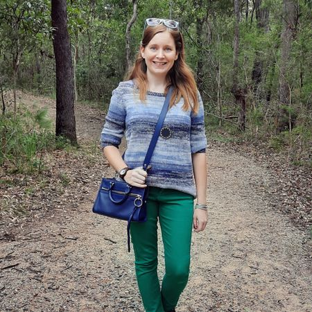 I really like blue and green together 💙💚 this blue ombre stripe knit is so cosy and looks good with the green jeans. A pretty affordable outfit as I scored the #RebeccaMinkoff micro Bedford bag on super sale, the green jeans are an opshop buy and the house of Harlow sunburnt necklace is too old for me to remember how much I paid but I'm sure I scored it on sale! 💙 Comfy and colourful outfit for the other weekend, a walk along our fave trail and a couple of errands and furniture shopping. Visiting the trail was an attempt to tire the kids out so they didn't jump on all the furniture in store 😅   -------------------   --------------------- ------------------ ------------------- ------------------------  Screenshot this pic to shop the product details from the @liketoknow.it app, or click here: http://liketk.it/3hhKL #liketkit #LTKitbag #blueandgreenoutfit #realeverydaystylepic #everydaystyle #realmumstyle #everythingLooksBetterWithABag #wearedonthestreet #nevervainalwayscolour #dopaminedressing