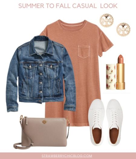 Summer to fall casual look- Tshirt dress paired with sneakers and a denim jacket   #LTKstyletip #LTKshoecrush #LTKSeasonal