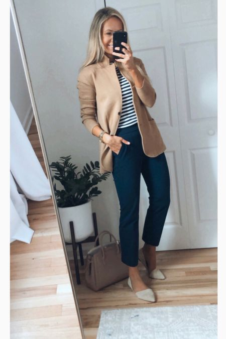 J.Crew sweater blazer outfit for work business casual outfit preppy style   #LTKunder100 #LTKsalealert #LTKworkwear
