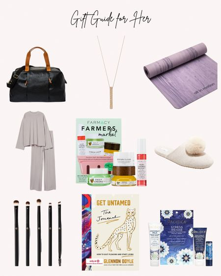 Yoga mat, weekend bag, pajamas, makeup brushes, clean beauty, slippers, Pacifica, Farmacy, untamed the journal  Follow me for more ideas and sales.   Double tap this post to save it for later    #LTKGiftGuide #LTKunder100 #LTKHoliday