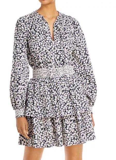 Long sleeved printed smocked tiered dress   #LTKwedding #LTKSeasonal #LTKworkwear
