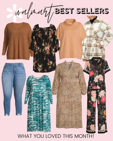 These plus size fashion favorites are the top selling Walmart finds of August! Plus size dresses, Sofia Vergara jeans, an Eloquii Elements plus size shacket, and plus size pajamas were all faves this month and will make amazing plus size fall outfits!  #LTKstyletip #LTKcurves #LTKunder50