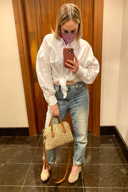 Memorial Day weekend outfit. High waisted jeans and long white sleeve collared shirt tied up http://liketk.it/3gvQQ #liketkit @liketoknow.it #LTKunder50 #LTKDay #LTKstyletip You can instantly shop all of my looks by following me on the LIKEtoKNOW.it shopping app