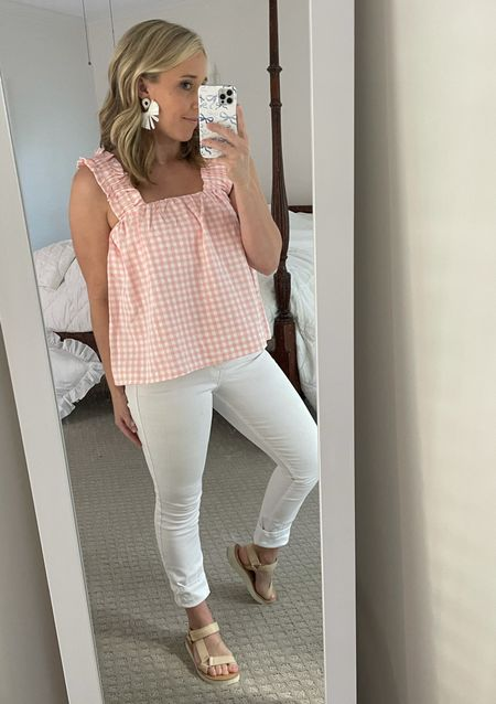 Summer outfit beach outfit vacation pink Buffalo check gingham ruffle tank raffia sandals white bow earrings  #LTKunder50 #LTKsalealert #LTKshoecrush