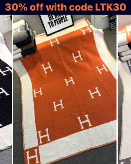 H Blanket, orange H blanket, Hermès inspired blanket, throw blanket  http://liketk.it/3hu5E @liketoknow.it #liketkit #LTKsalealert #LTKhome #LTKunder100
