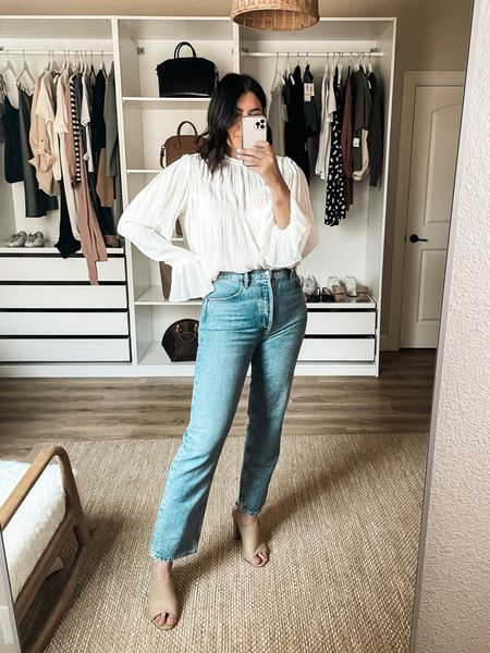 Nordstrom Try on!   I'm in the 29 of the Agolde jeans. They are 100% cotton, no stretch so I always size up. They stretch with wear but not in a whole size kind o a way. Fit is more of a straight leg than a true flare. It's tighter at the hips / waist.   I'm in the medium of this top. It's a gauze-y top so it's not sheer but it's not not sheer ya know? It's honestly more of a summery fabric but the sleeves are definitely fall. It runs loose, long.