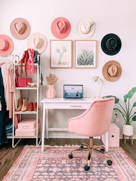 Pink boho office, white desk 20% off this week, pink velvet chair, clothing rack, home office  #LTKhome #LTKunder100 #LTKsalealert