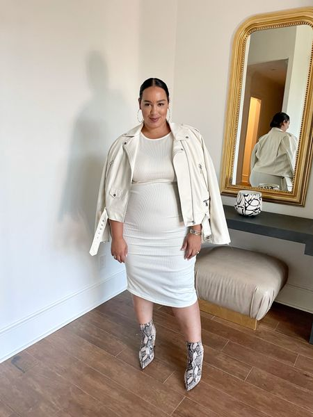 Transitioning a white dress for fall! Moto jacket and booties dress from hm, moto jacket from Walmart, booties from amazon  #LTKSeasonal #LTKcurves