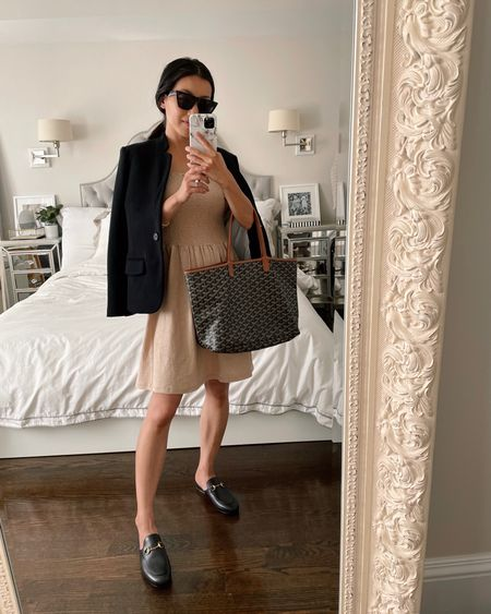 summer casual workwear outfit   •Vero Moda dress xs (nursing and bump friendly!) •Gucci Princetown Loafer Mules size 35.5 (west closed back shoes or loafers for a business dress code office) •Gibson knit blazer xxs petite (linked similar by Caslon)   #Nordstrom @nordstrom    #LTKshoecrush #LTKworkwear #LTKSeasonal http://liketk.it/3iCv7 @liketoknow.it #liketkit