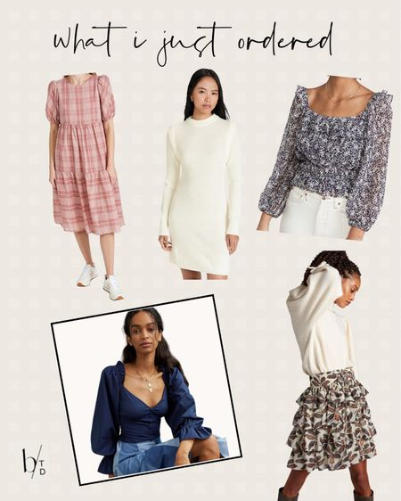 Brighton Butler's most recent order includes a plaid midi dress, a ruffle midi skirt, a navy puff sleeve blouse, a ivory sweater dress and a patterned top.  #LTKunder100 #LTKunder50 #LTKstyletip