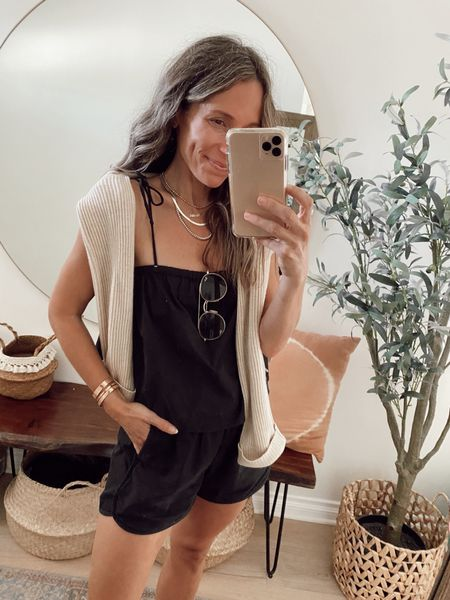 Black pull on shorts with pockets + air light tie cami for a casual summer outfit… wore this ribbed cashmere pullover this morning since it was cool //   #LTKunder50 #LTKstyletip