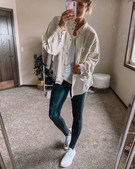 NSale plaid shacket for $35 / Spanx faux leather leggings / white tank / adidas gold and white swift run sneakers   #LTKstyletip #LTKunder50 #LTKsalealert