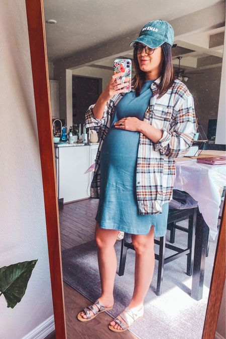 Non-maternity Walmart outfit! L in dress, L in men's plaid