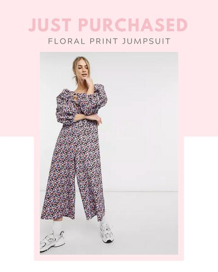 Just purchased: ASOS DESIGN double puff sleeve tie front jumpsuit in purple floral, on sale now, under $25, comfy clothes, spring / summer, fall / winter, casual outfit, travel, weekend attire