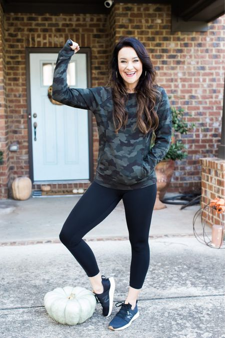 Fall fitness outfit 🍂 In love with my super soft camo pullover! Wearing a small, fits true to size. This is the perfect pullover to keep you all nice and cozy this fall!   #LTKstyletip #LTKfit #LTKHoliday