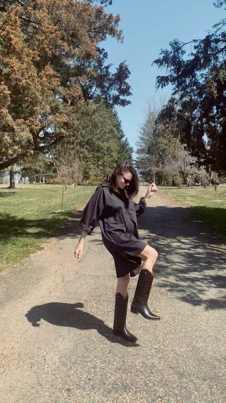 Fall fashion ideas. Fall outfit. Black cowboy boots. Shirt dress. Black shirt dress. Fall style. #ltkfall Rebecca Piersol style  #LTKstyletip #LTKunder100 #LTKSeasonal