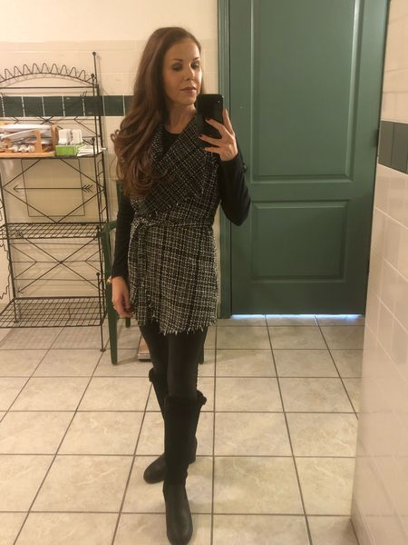 Chanel inspired tweed vest with spanx faux leather leggings and ugg boots   Vest: wearing size 11-13 in girls  Bodysuit: xxs Boots: 5 Leggings: xs Lingerie set: xs Thigh socks: one size  #chaneltweed #spanxleggings #fauxleatherleggings #uggboots  #fallboots #tallboots #sheinfind #petitestyle #petitefashion #petiteclothes