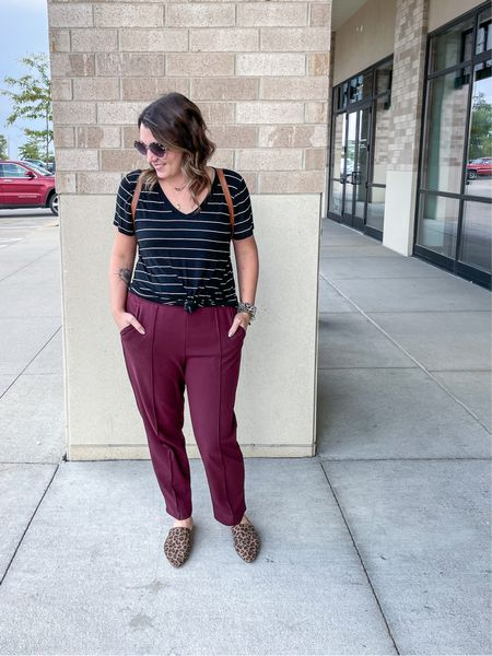When in doubt, throw on some stripes, burgundy and leopard print. It will work. Promise.   Looking forward to another lovely fall weekend. I think we are going to hit up the pumpkin patch. What are you excited about for this weekend ?  #LTKworkwear #LTKstyletip #LTKunder50