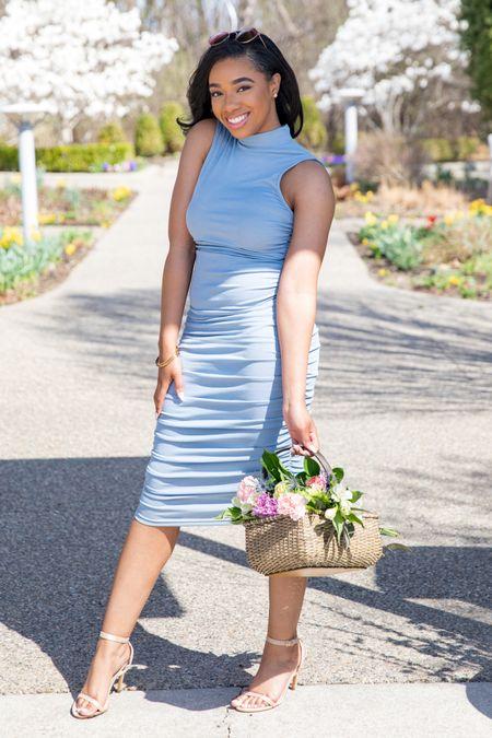 Mock-neck ruched dress for Spring and Summer 💗  #LTKSeasonal #LTKstyletip #LTKunder50