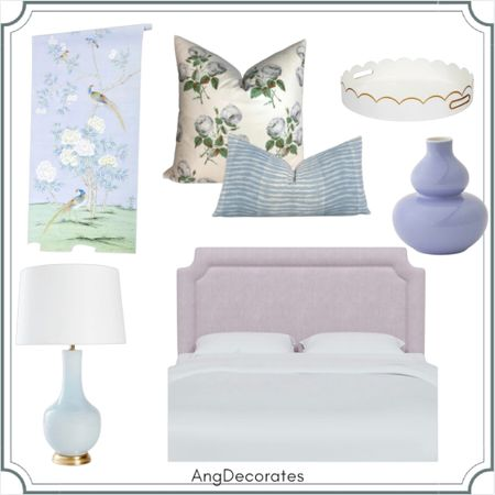 Lavender and aqua girl's room with Chinoiserie wallpaper, Bowood pillow, and scalloped tray  #LTKhome