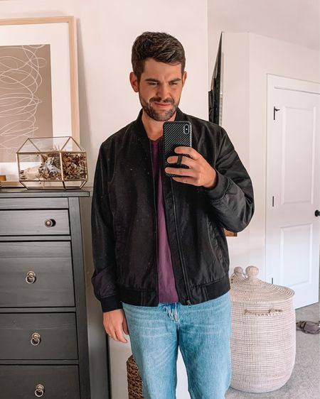 Men's amazon fashion, men's outfits, mens fashion, Abercrombie men, gifts for men, gifts for husband  - Bomber jacket: true to size (L)  V-neck tee: true to size (L) more colors  Jeans: true to size    #LTKunder50 #LTKmens #LTKGiftGuide