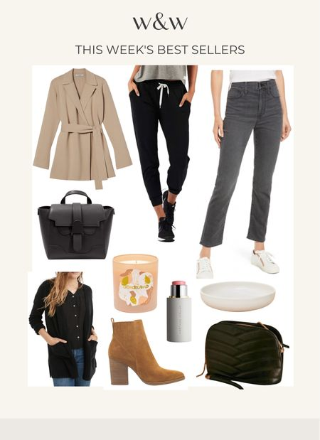 This week's bestsellers!  Wrap cardigan from MmLafleur The best joggers from Vuori Madewell jeans Senreve bag The best fall candle from Otherland  Madewell cardigan My favorite cream blush The prettiest bowls from Jenni kayne The best booties from Marc fisher Sezane crossbody bag  #LTKSeasonal