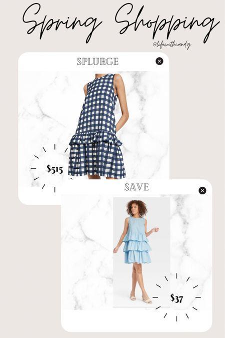 Gingham. Plaid. Buffalo plaid. Light blue tiered a line dress. Casual spring dress. Who what wear. Victoria Beckham. Save vs splurge. Target    #LTKstyletip http://liketk.it/3dnpH #liketkit @liketoknow.it