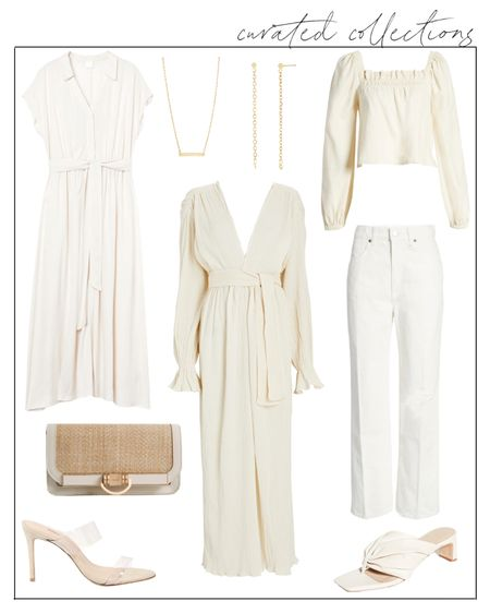 Reposting this collection of gauzy summer whites because it was your favorite to date! I updated it with in-stock pieces and an H&M alternative to the center dress. A couple of the items are now on sale, including the Villa Rouge heeled slide sandals in the bottom right. Obsessed with this dress for a bridal outfit or an anniversary trip/date! #summerwhites #whitedress #bridalstyle #whitejeans #netaporter #h&mfinds