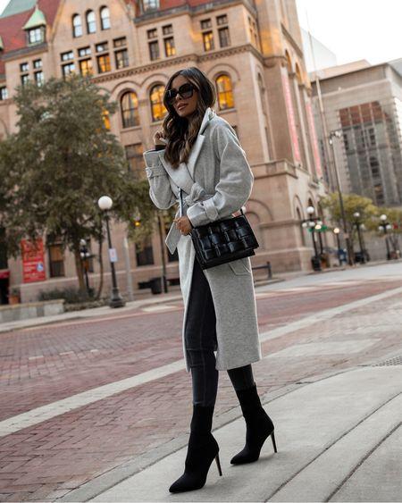 Fall outfit from Express Gray wool coat wearing an XXS Black bodysuit wearing an XXS Express gray denim wearing a 00 Express black sock booties    #LTKunder100 #LTKsalealert #LTKshoecrush