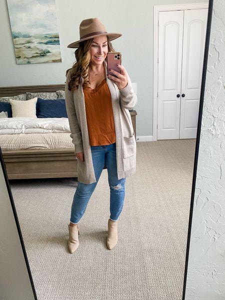 Evereve New Arrivals | Cami, L // Cardigan, M // Jeans tts, 12 // Booties size up 1/2  Fall Fashion Cardigan  Evereve New Arrivals  #LTKsalealert #LTKstyletip #LTKSeasonal