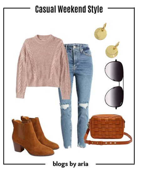 Fall outfit idea with a cozy fall sweater and distressed denim perfect for a weekend date or errands. Fall ootd fall fashion fall style fall aesthetic   #LTKSeasonal #LTKSale #LTKstyletip