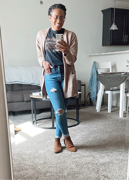 It's a graphic kind of day  #country #rodeo #grpahictee #graphic #tshirt #tee #jeans #denim #falloutfit #distressedjeans #booties #suede #cardigan #neutralcolors #neutral #skinnyjeans #skinny #happyfall #fallfashion #octobervibes #autumnstyle #casual  #LTKunder50 #LTKSeasonal #LTKstyletip